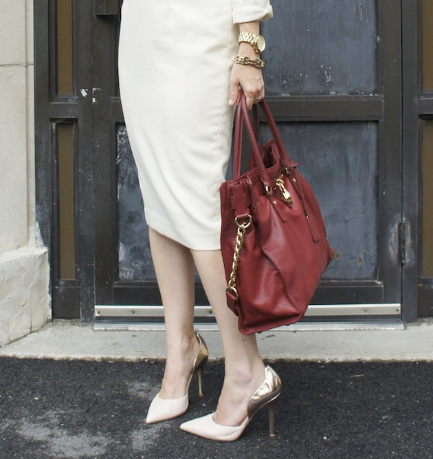 white dress, metallic shoes, burgundy bag