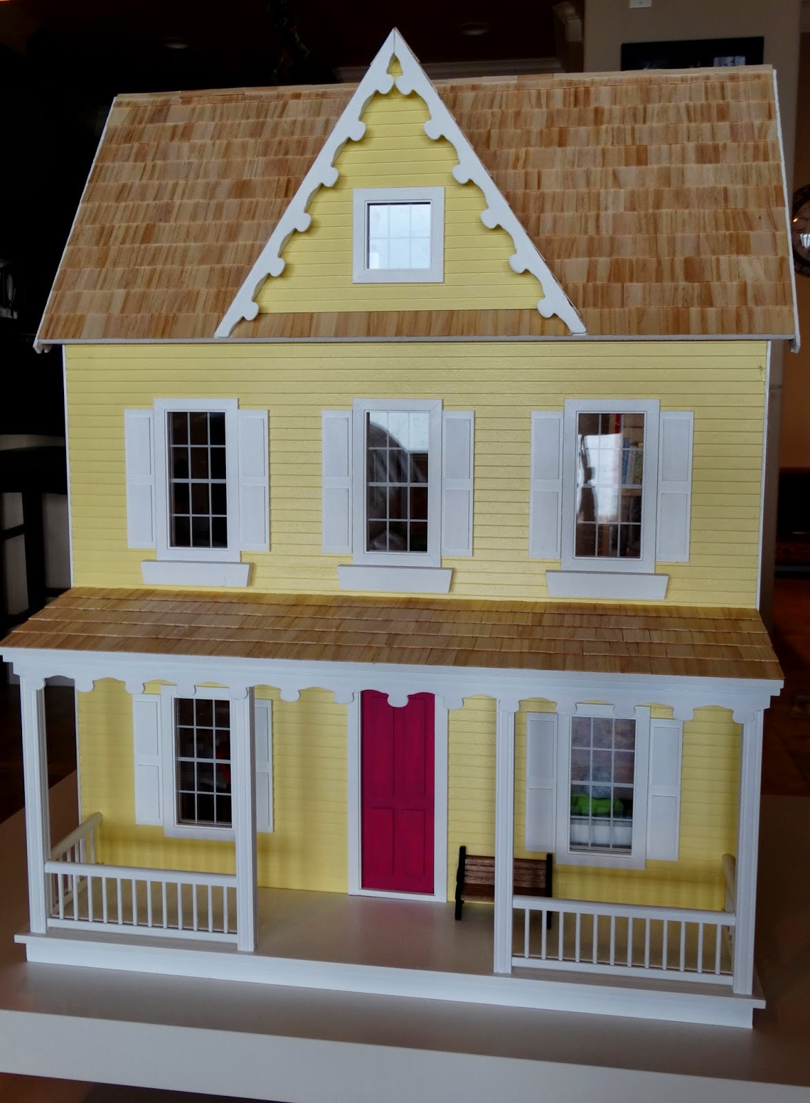 Scrapbook paper dollhouse wallpaper - The Wallpaper On The Inside Is Scrapbook Paper That I Secured With Spray Adhesive I Wouldn T Say That This Is The Best Way To Paper The Walls But It Works