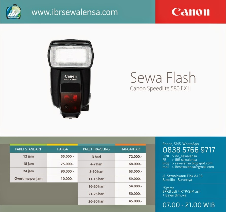 Harga sewa flash Canon Speedlite 580EX II