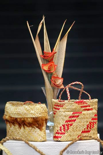L-R: Kete, by Joy Carran; Putiputi, by Joy Carran; Kete, by Meri Irving - Matariki, an exhibition at Hastings Community Arts Centre, Hastings photograph
