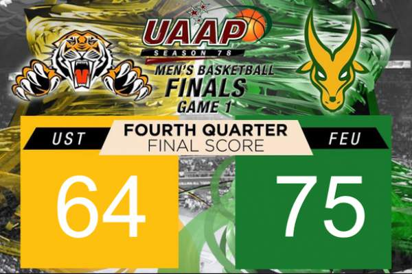 Image: FEU survives US, 75-64, to take Game 1 of UAAP 78 basketball finals