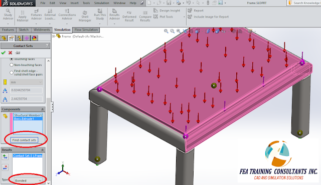 contact sets in solidworks simulation