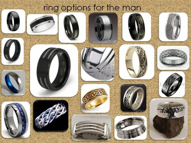 various sources most found through google searches for tungsten or titanium mens wedding bands the last three were found on etsy