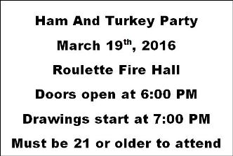 3-19 Ham & Turkey Party Roulette Firehall