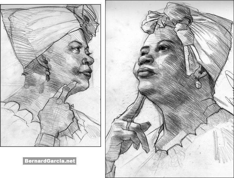 Drawing and Sketching by Artist Bernard Garcia: African American Woman ...