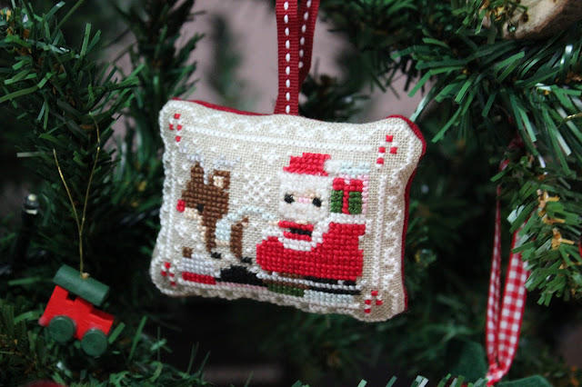 Frosted Pumpkin Stitchery - Santa cross-stitch decoration