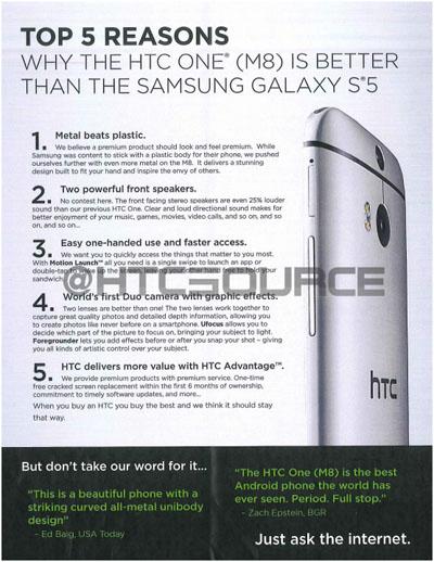 Dokumen Bocor Ungkap 5 Alasan HTC One (M8) Lebih Baik dari Galaxy S5
