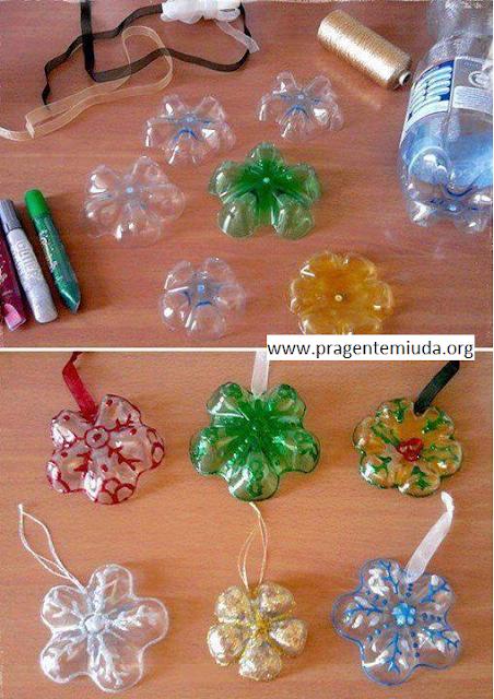 Enfeites de natal com reciclagem de garrafa pet