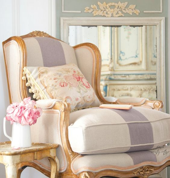 French style chair with blue stripe and gold table