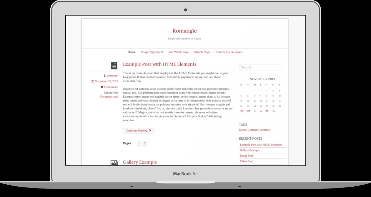Romangie - free blogger WordPress theme