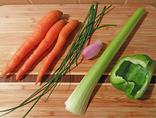 Cutting Board with Carrot, Chives, Celery, Onion, Bell Pepper