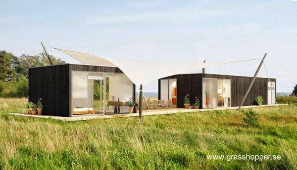 Módulos y arquitectura textil en una casa de playa sueca