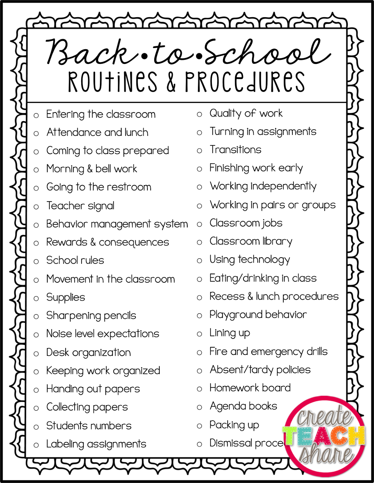 Classroom Routine Ideas ~ Back to school routines procedures upper elementary
