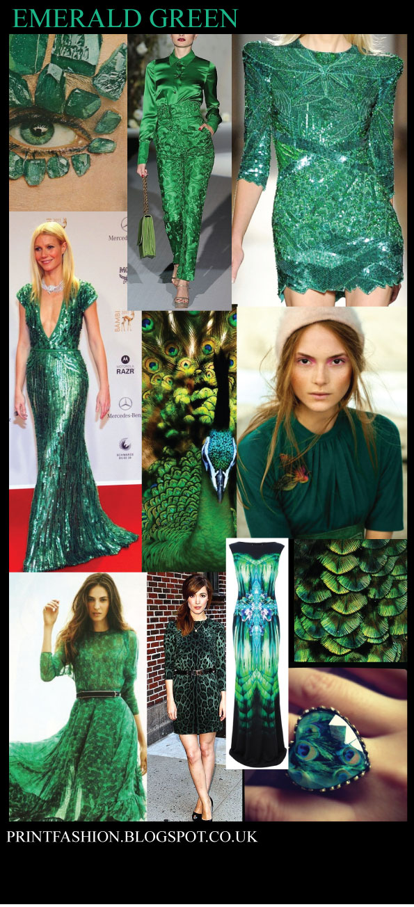 Print Fashion: Emerald Green the colour of 2013