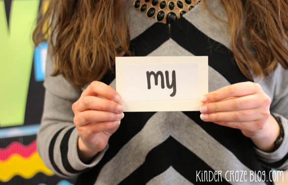 flashcards in the kindergarten classroom