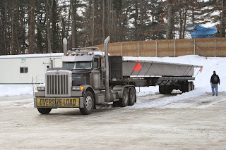 oversize concrete parking garage T's load peterbilt