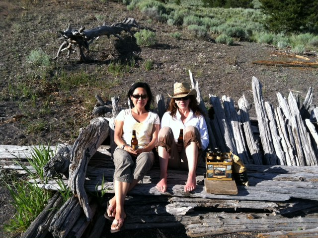 Flygirls: Hyun Kounne and Josée, Hebgen Lake, West Yellowstone, MT