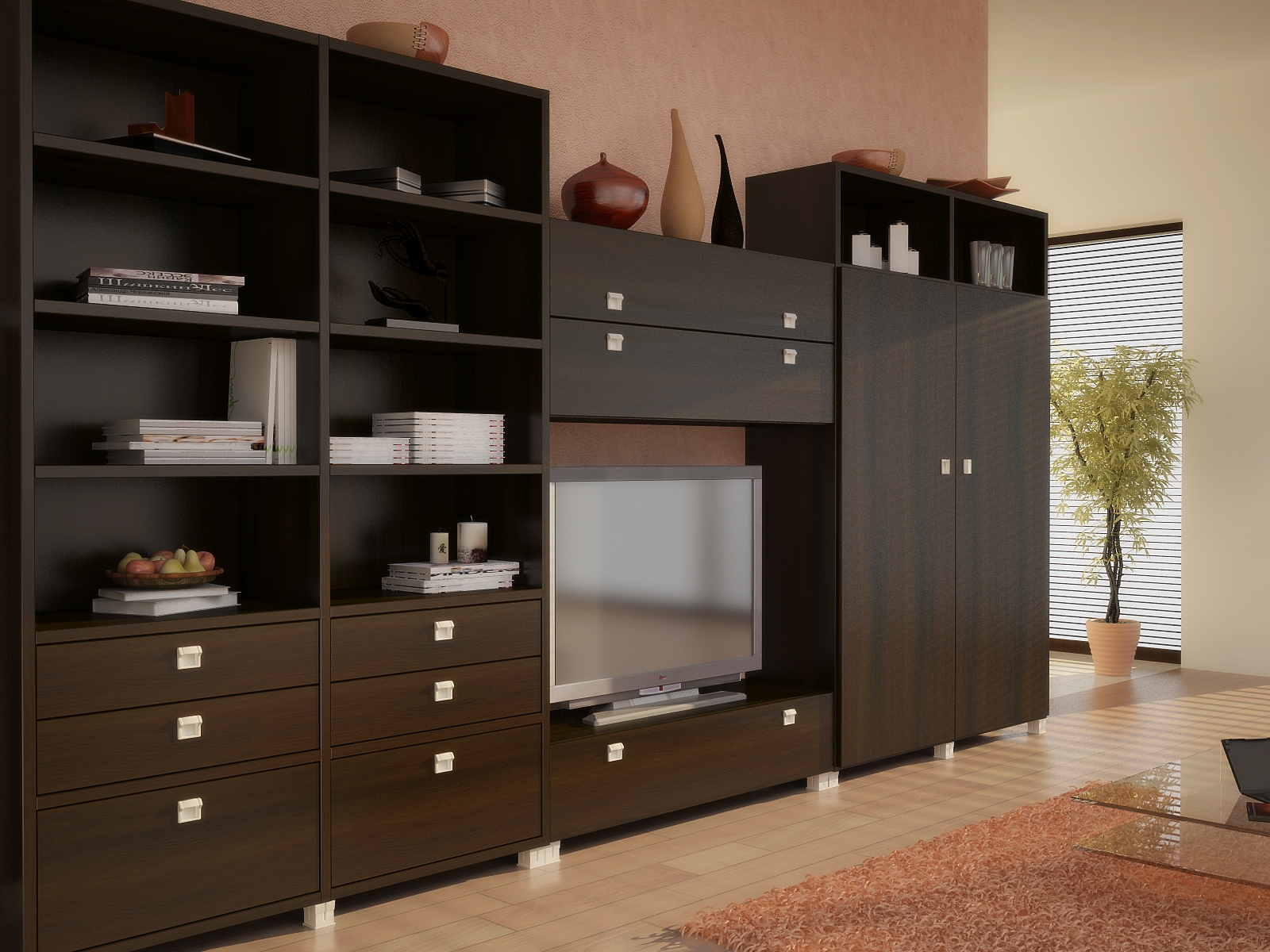Корпусная и модульная мебель для гостиной купить от производ.