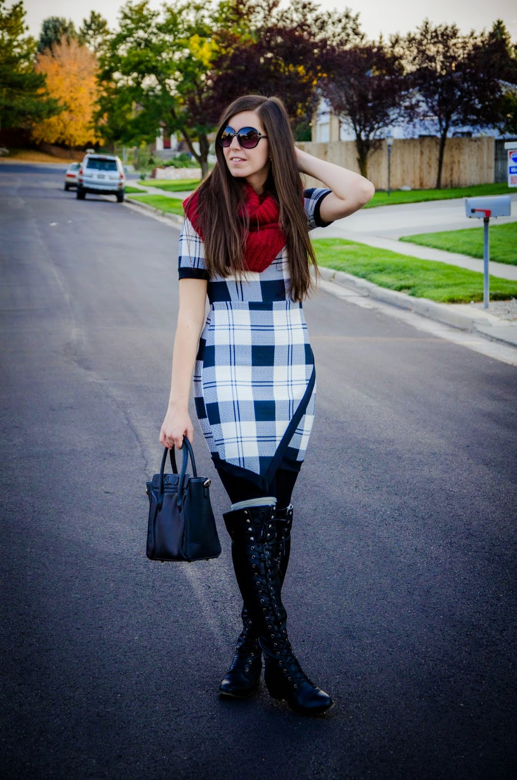 plaid dress, colors of aurora, amiclubwear, lace up riding boots, faux leather lace up riding boots, military style boots, boots, burgundy scarf, boot socks, pretty, over the knee riding boots, black over the knee riding boots,