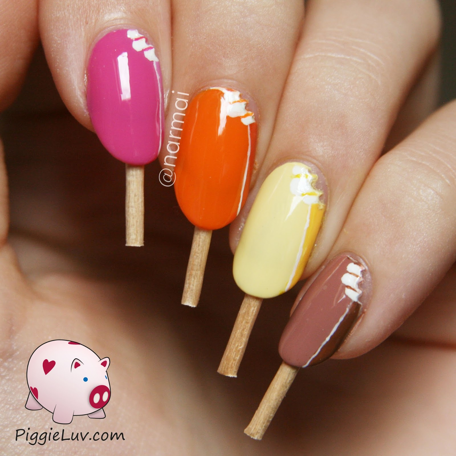 PiggieLuv: Magnum ice cream nail art with video tutorial!