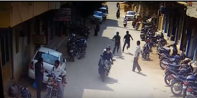 The incident, which was on camera,  occurred at 11 am at Vanasthalipuram when two bike-borne men tried to snatch a gold chain off a local resident.  Two constables, who were on the road, Ravi and Narender, failed to nab them. Ravi then opened fire, despite which the chain snatchers managed to escape. .