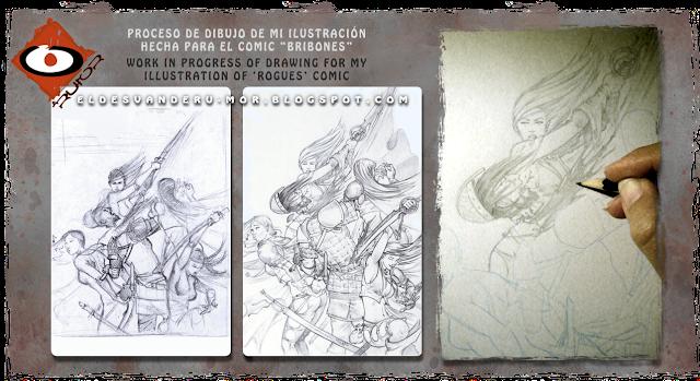 Dibujo para ilustración de portada hecha por ªRU-MOR para el comic Bribones editado por dibbuks en España, ROGUES! editado por AMIGO comics en USA, fantasía, espadas, brujería