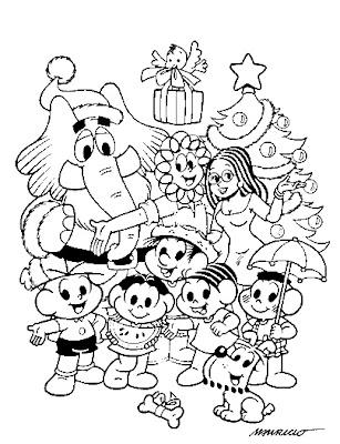 O Natal da Turma para Colorir Jogos da Turma da Mônica - imagens para colorir turma da monica de natal