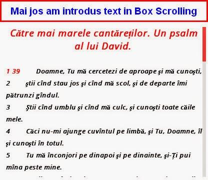 text in cutie defilare cu meniu
