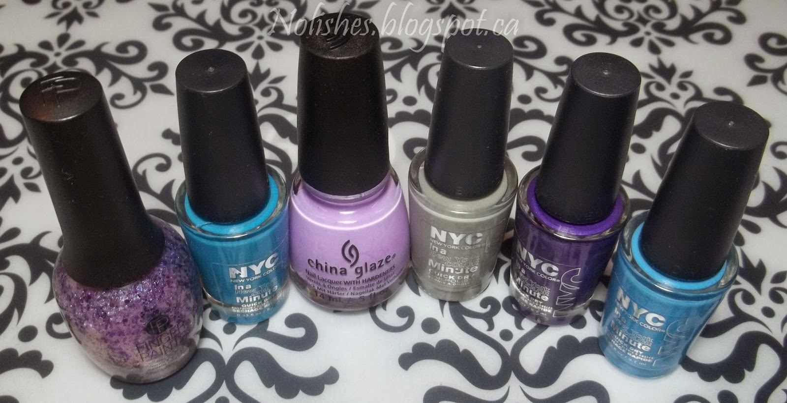 Finger Paints 'Violaceous Vase', NYC 'Water Street Blue', China Glaze 'Lotus Begin', NYC 'Sidewalkers', NYC 'Prince Street', and NYC 'NY Blues'