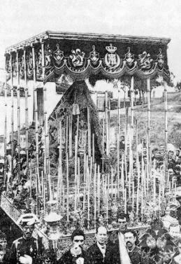 Palio Virgen del Patrocinio El Cachorro hermanas Antúnez 1884 Virgen Dolores Veracruz Utrera