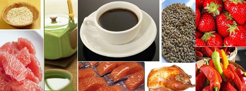 FAT BURNING FOODS, collage of grapefruit, green tea, coffee, berries, lentils, oats, salmon, turkey