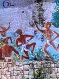 """Abandonado mural """"Juego Maya"""" Unidad Deportiva """"20 de Noviembre"""" Calkiní. 28jul2011."""