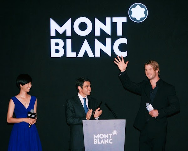Chris Hemsworth wears Montblanc TimeWalker Extreme Chronograph at Montblanc Bohème Collection launch in Shanghai August 2014