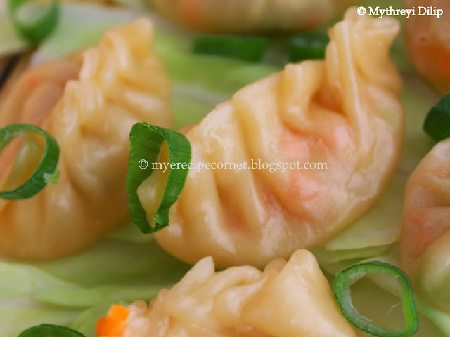 steamed vegetable wontons / vegetable momos recipe