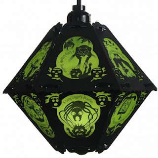 Green and black vintage pendant style Halloween lantern with poem and long leggetty beasties