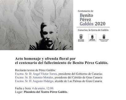 Sábado 4  de Enero 12.00 H Homenaje a Benito Pérez Galdos