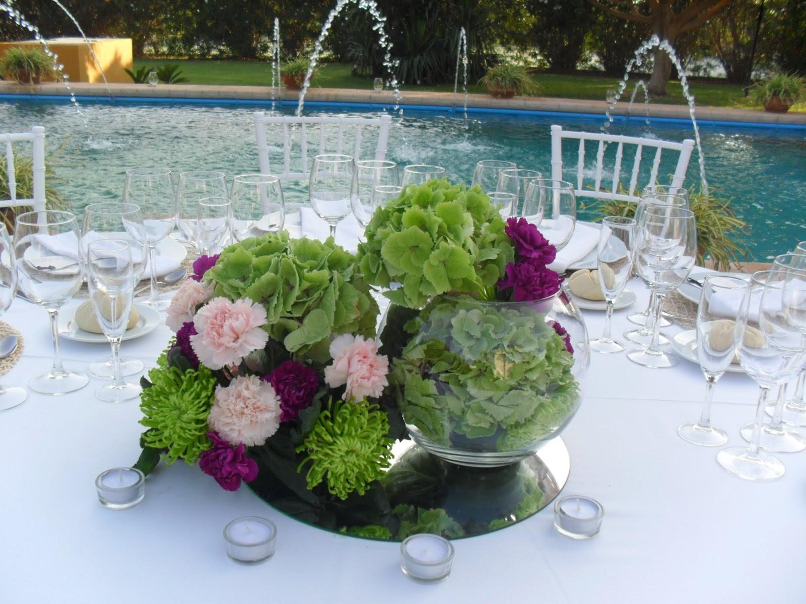 D tallo flores y eventos centro de mesa con hortensia - Decoracion con hortensias ...