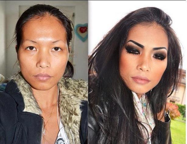 Maquiagem - antes e depois