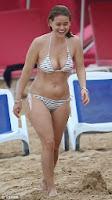 English: Alice Eve White Bikini Christmas day Barbados