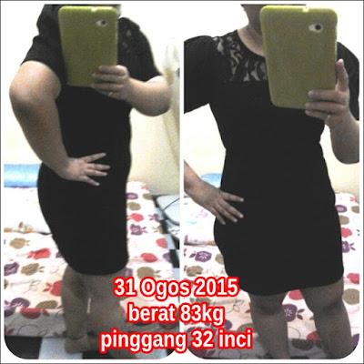 Gambar terkini - Diambil pada 31 Ogos 2015, berat 83kg, pinggang 32 inci