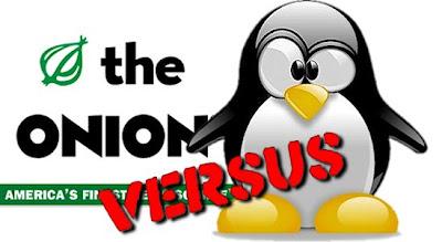 The Onion logo next to the Slap the Penguin logo