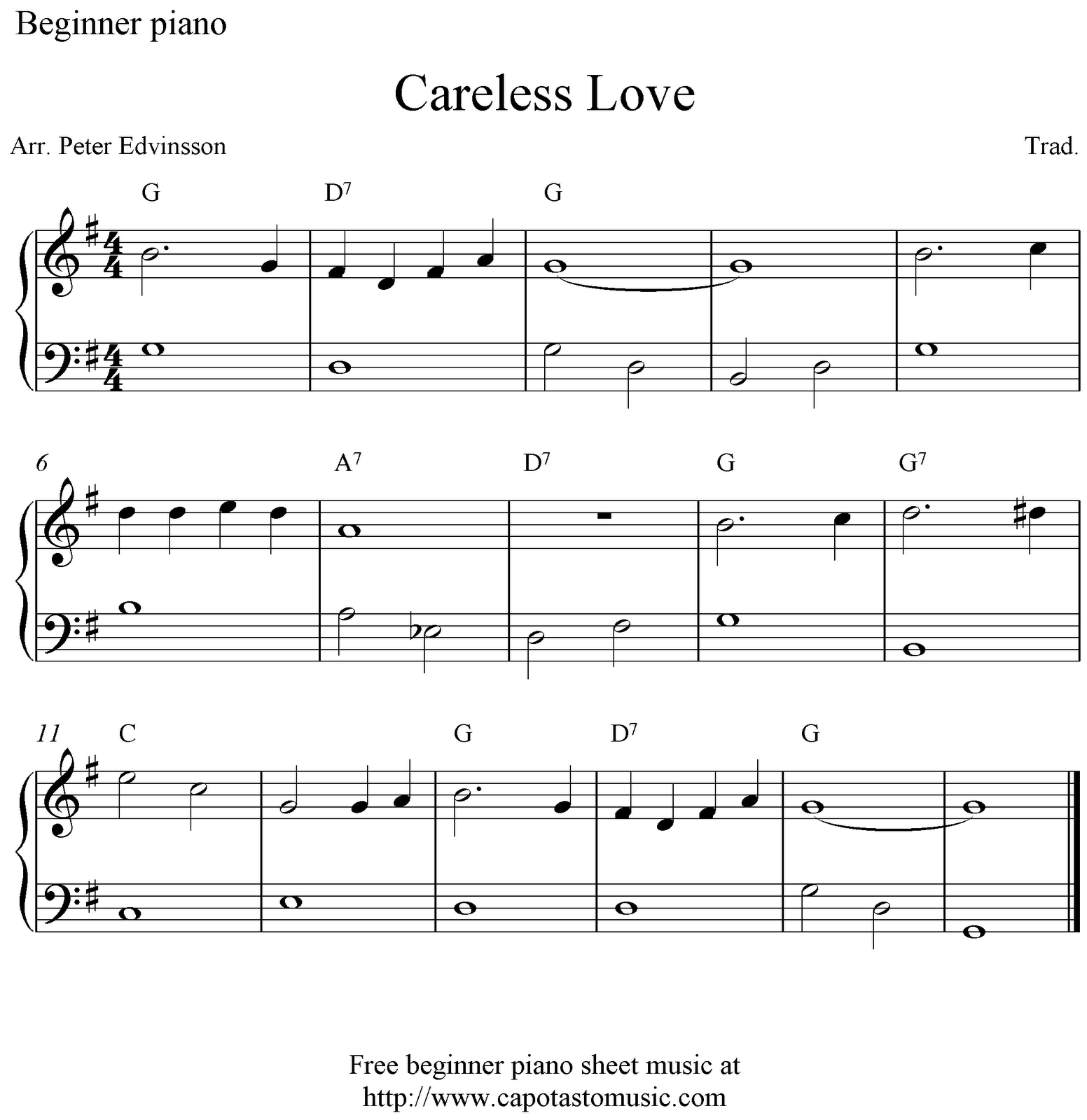 Free beginner piano sheet music, Careless Love