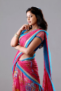 Bindu Madhavi in Sizzling Pink Saree Looks Really Beautiful