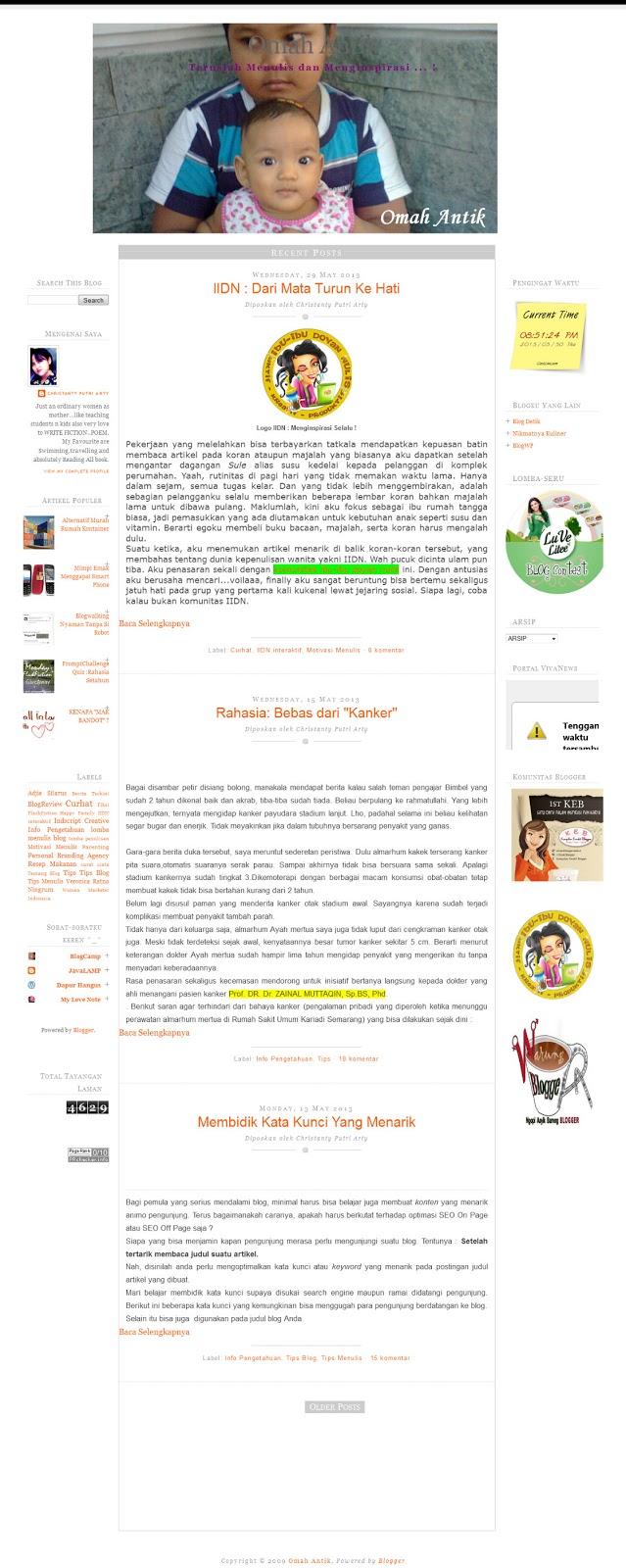 tampilan blog Omah Antiknya Mba Tanty