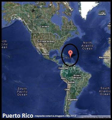Mapa de Puerto Rico en América, Vista Satelital