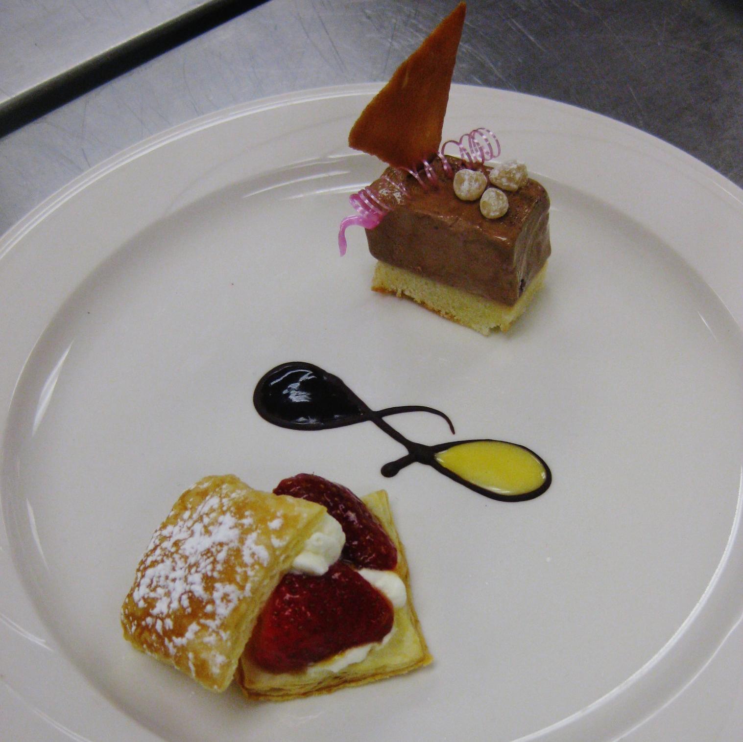 Puff Pastry Layered with Strawberries & Amaretto Cream Chocolate Ice ...
