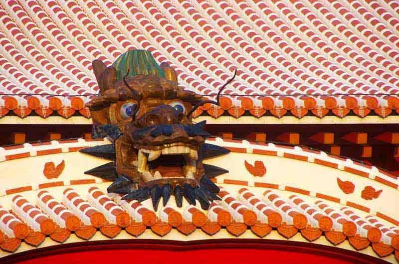 red tiled roof,lion,shisa,castle
