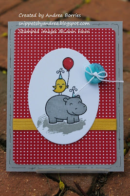 "Card wishing a ""Hippo birdie to you!"" with Lawn Fawn's Year Four stamp set."