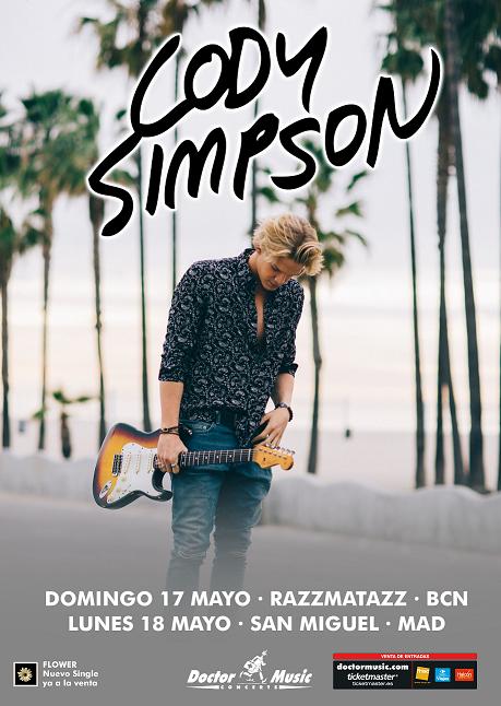 CODY SIMPSON en concierto regresa a España tras hacer sold out en su primera gira en verano de 2014