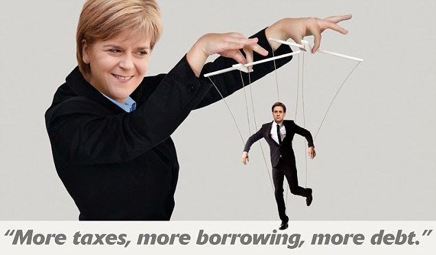 SNP leader Nicola Sturgeon pulling the strings of Ed Miliband puppet